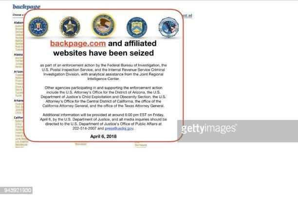 This screen grab image obtained April 9 2018 shows backpagecom and affiliated websites that have been seized by the FBI in WashingtonDC Two...