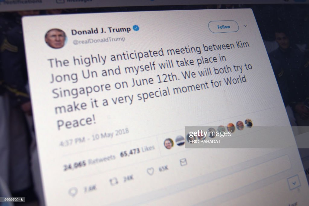 US-NKOREA-SUMMIT-TRUMP-KIM-TWITTER-TWEET : News Photo