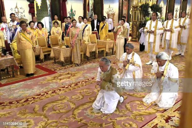 This screengrab from Thai TV Pool video taken on May 4 2019 shows Chief Brahmin Phra Ratcha Khru Vamadeb Muni addressing Thailand's King Maha...
