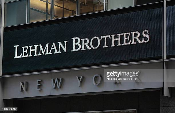 This September 15, 2008 file photo shows the sign for Lehman Brothers headquarters in New York. The 158-year-old Lehman filed for bankruptcy...