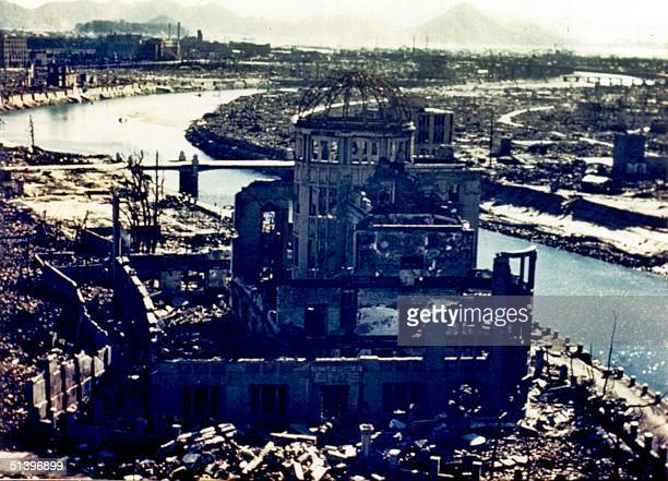 This September 1945 file picture shows the remaining of the Hiroshima Prefectural Industry Promotion Building known as the AtomicBomb Dome which was...