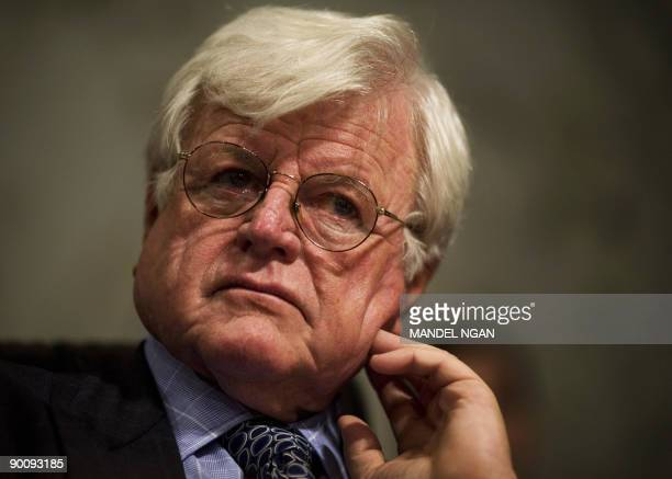 This September 25 2007 file photo shows Senator Edward M Kennedy DMA listening to testimony during a hearing on the Foreign Intelligence Surveillance...