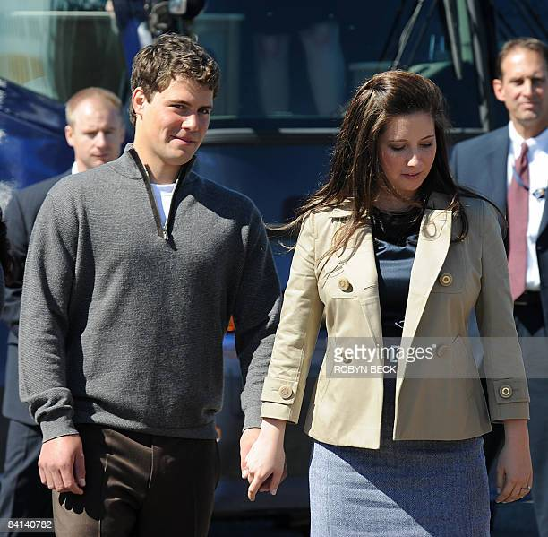 This September 3 2008 file photo shows Bristol Palin daughter of Republican vice presidential candidate Alaska Governor Sarah Palin holding hands...