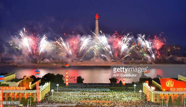 This September 6 2017 picture released from North Korea's official Korean Central News Agency on September 7 2017 shows fireworks displaying while...