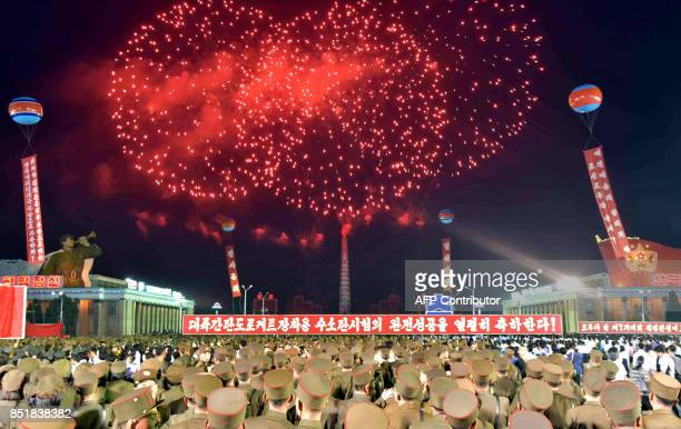 TOPSHOT This September 6 2017 picture released from North Korea's official Korean Central News Agency on September 7 2017 shows fireworks displaying...