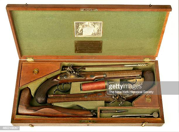 This set of cased dueling pistols belonged to the politician and diplomat Rufus King who was a signer of the Constitution and a United States senator...