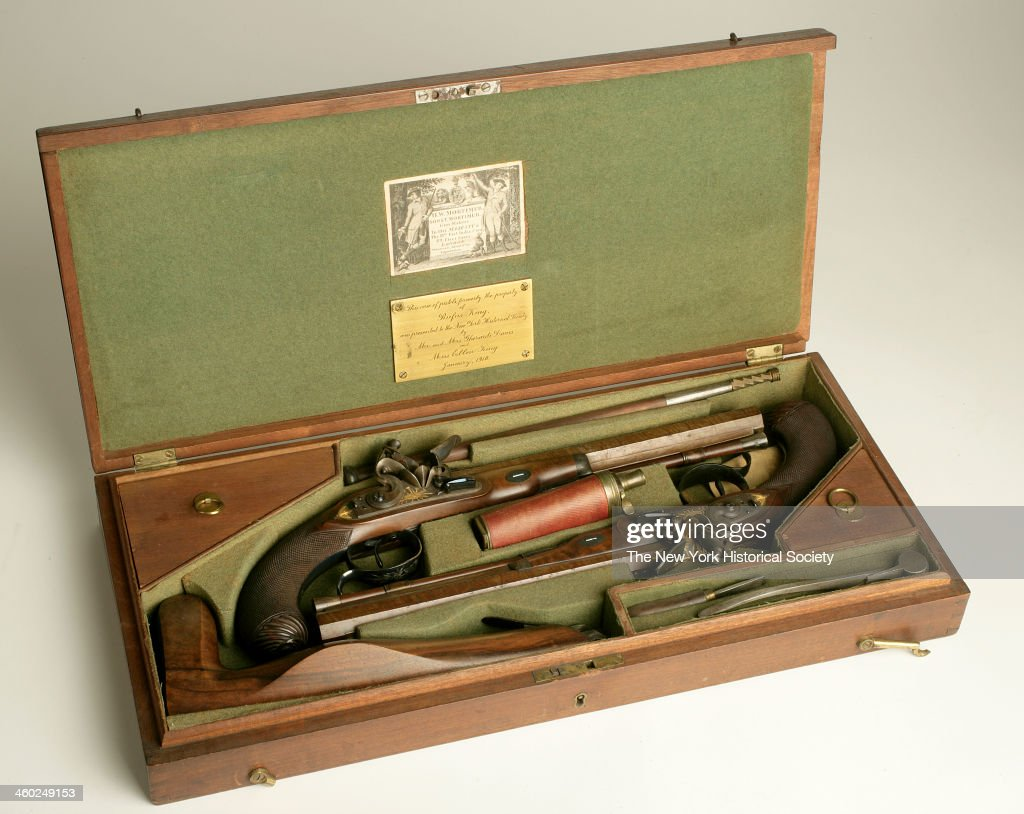 Pair Of Flintlock Dueling Pistols With Case And Accessories : News Photo