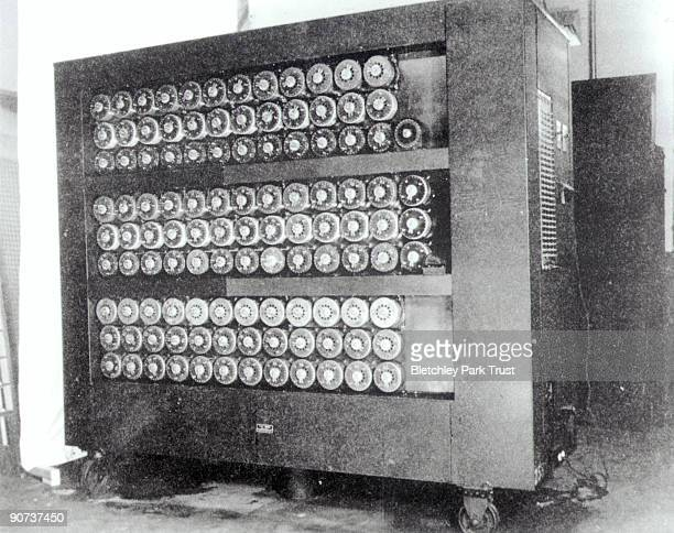 This shows Bombe codebreaking equipment at Bletchley Park in Buckinghamshire the British forces' intelligence centre during WWII The cryptographers...