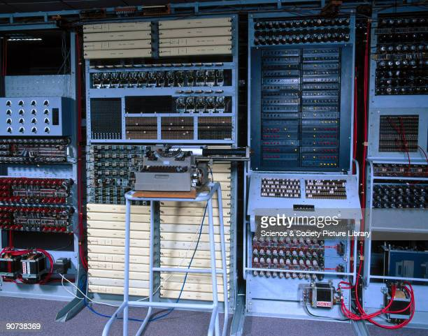 This shows control panels of 'Colossus' the world's first electronic programmable computer at Bletchley Park in Buckinghamshire Bletchley Park was...