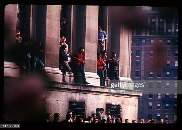 This shows Fayerweather Hall at the Fayerweather Dormitory at Columbia University where students held up in the school office and kept in touch with...