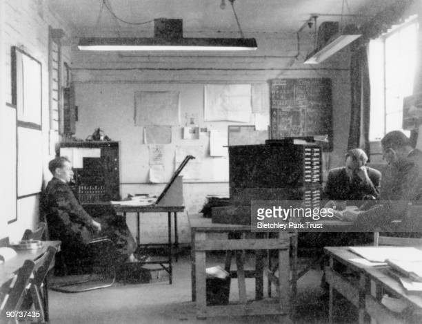 This shows the intercept control room in hut 6 at Bletchley Park Buckinghamshire the British forces' intelligence centre during WWII The...