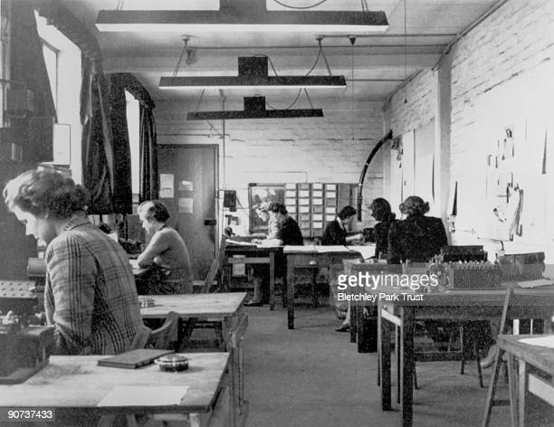 This shows the machine room in hut 6 of Bletchley Park Buckinghamshire the British forces' intelligence centre during WWII The cryptographers at...