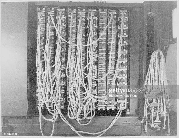 This shows the rear plugging of the Bombe decoding machine in hut 11a at Bletchley Park Buckinghamshire the British forces' intelligence centre...