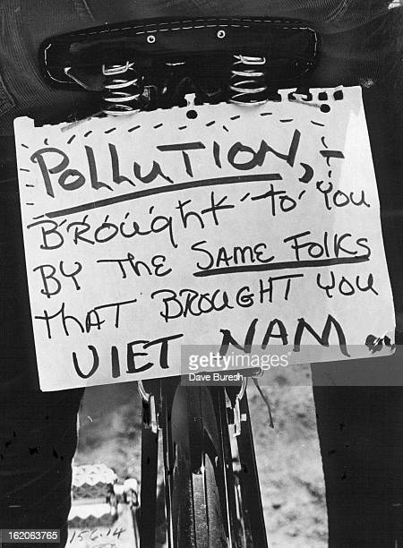 APR 22 1970 APR 25 1970 APR 26 1970 This Sign Hung Behind Bike Saddle Expressed one Earth Day Rider's Idea Earth Day was an opportunity to forge link...
