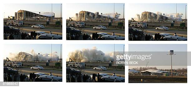 This six photo combo shows the destruction of US Airways Arena in Landover Maryland 15 December 2002 The venue which opened in 1973 as the Capital...