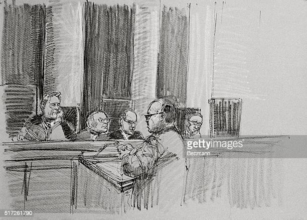 This sketch shows White House Watergate Attorney James St Claire arguing before the Supreme Court over whether President Nixon could assert executive...