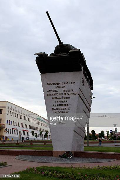 This statue in Grodno Belarus memorializes the two tank units that liberated Grodno from the Germans in 1944