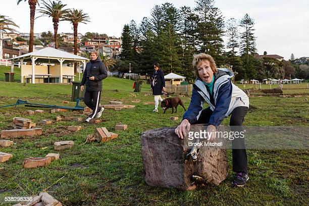 This stone sculpture was thrown 30 metres back into the park at Bronte Beach during the storm surge on June 6 2016 in Sydney Australia Torrential...