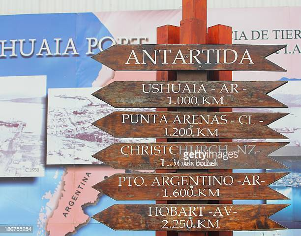 This street sign near the port entrance shows the distance in KM from major places of departure to Antarctica. As you can see Ushuaia is the closest...