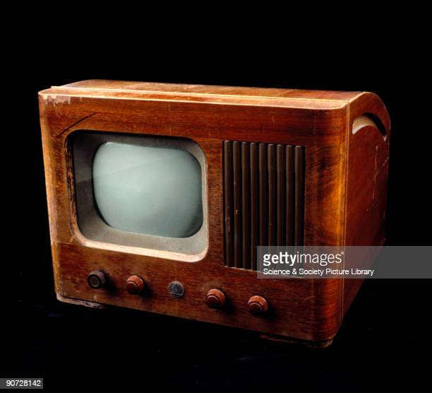 This table model receiver in walnut casing has a nineinch screen After the end of World War II television broadcasts resumed in Britain on 8 June...