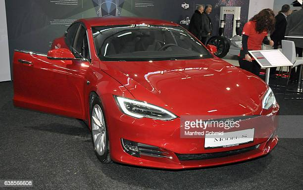 This Tesla Model S is displayed during the Vienna Autoshow as part of Vienna Holiday Fair The Vienna Autoshow will be held January 1215 on January 11...