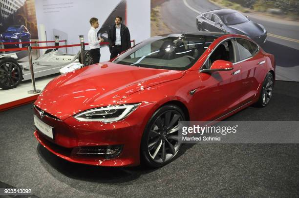 This Tesla Model S is displayed during the Vienna Autoshow as part of Vienna Holiday Fair on January 10 2018 in Vienna Austria The Vienna Autoshow...