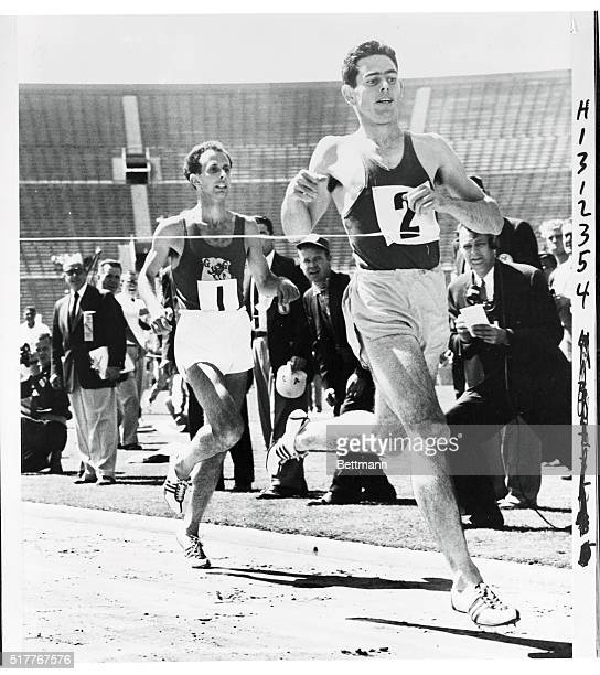 This threepicture sequence shows the action in Saturday's special race at Los Angeles Coliseum in which Jim Bailey of Australia outraced worldrecord...
