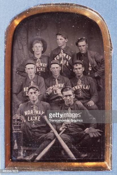 This tintype of the town's baseball team is made around 1880 in Norway Lake Maine
