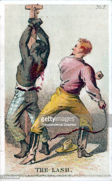 This trade card part of a 12 card antislavery set is issued in 1863 in Philadelphia Pennsylvania