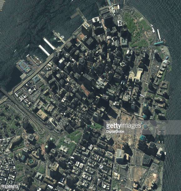 This true color satellite image was collected on August 2 2002 of New York City This image covers the Manhattan area and Ground Zero