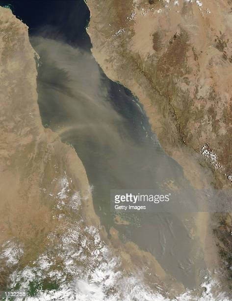 This truecolor image from the Moderate Resolution Imaging Spectroradiometer taken July 11 2002 shows a dust storm over the Red Sea The GISS model...