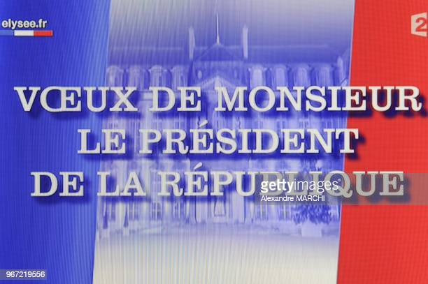 This tv grab taken from French TV channel France 2 shows French president Nicolas Sarkozy addressing live his New Year's wishes to the nation at the...