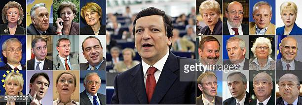 This undated combo picture shows European Commission's presidentelect Jose Manuel Durao Barroso flanked by the 24 commissioners who will serve under...