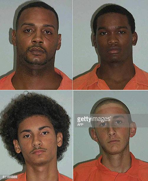 This undated composite of arrest photos obtained from the Volusia County Florida Sheriff's Office 09 August 2004 shows Troy Victorino Jerone Hunter...
