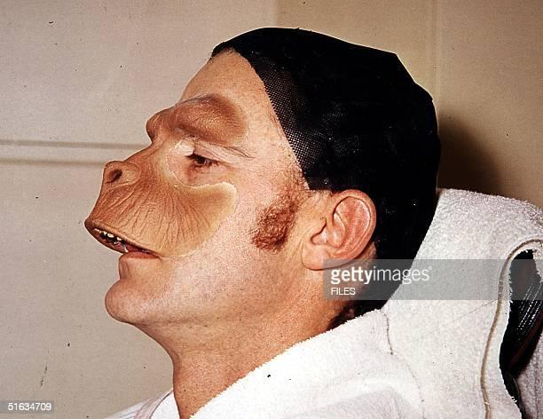 This undated file photo shows British actor Roddy McDowall in the preparation for the mask of Cornelius one of the characters of the 1968 movie 'The...