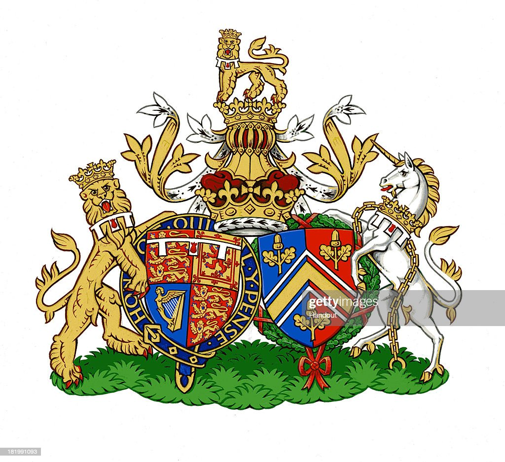 This undated handout image provided by Kensington Palace, London, England on September 27, 2013 depicts the new Conjugal Coat of Arms for Prince William, Duke of Cambridge and Catherine, Duchess of Cambridge of the United Kingdom, which will represent them in heraldic terms as a married couple. Designed by The College of Arms in London, Conjugal Arms traditionally show the separate shields of a royal husband and wife, side by side. The Duke's shield on the left is his version of the Royal Coat of Arms granted to him by Queen Elizabeth II on his 18th birthday. On the right, the Duchess's shield is from the Middleton family Coat of Arms, granted to the family in 2011 ahead of her marriage.