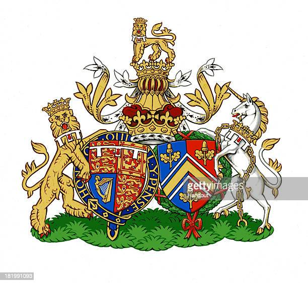This undated handout image provided by Kensington Palace, London, England on September 27, 2013 depicts the new Conjugal Coat of Arms for Prince...