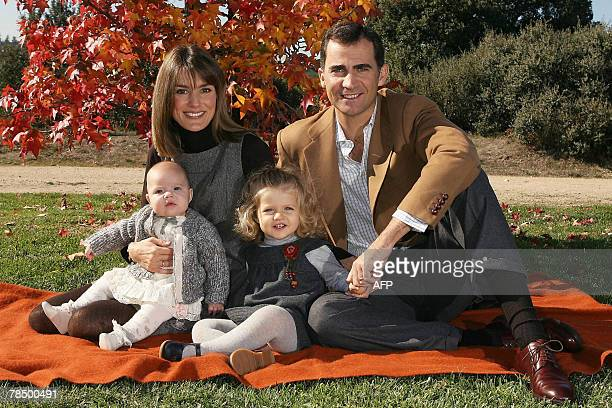 This undated handout photo provided by the Spanish Royal House shows Spain's Crown Prince Felipe Princess Letizia their daughters Sofia and Leonor...