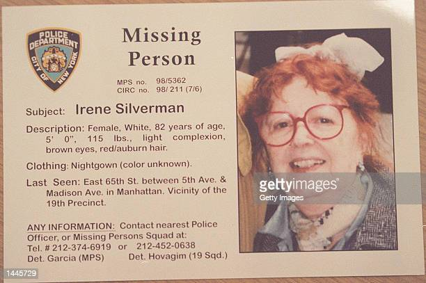 This undated missing persons poster shows wealthy widow Irene Silverman Mother and son grifter team Sante and Kenneth Kimes were eventually convicted...