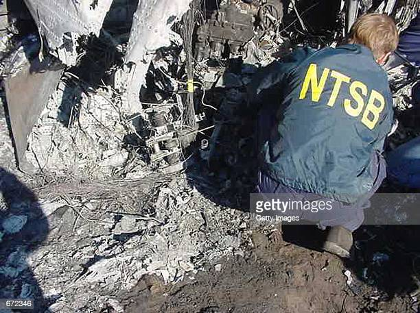This undated National Transportation Safety Board photo shows an NTSB crash investigator at the American Airlines flight 587 at the crash site in the...