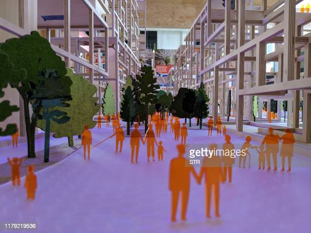 This undated photo received on October 31 2019 shows a model of a sustainable and futuristic neighbourhood on a former industrial site on the...