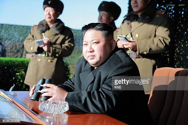 This undated photo released by North Korea's official Korean Central News Agency on December 11 2016 shows North Korean leader Kim JongUn during a...