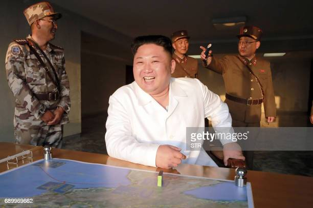 This undated photo released by North Korea's official Korean Central News Agency on May 30 2017 shows North Korean leader Kim JongUn inspecting a...