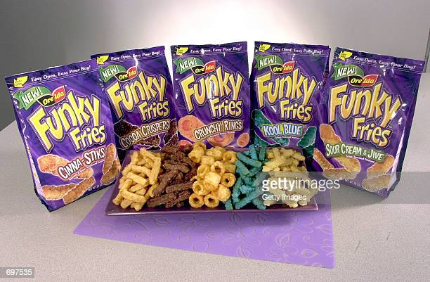 This undated photo shows new OreIda Funky Fries in five varieties February 13 CinnaStik Cocoa Crisper Crunchy Rings Kool Blue and Sour Cream Jive...