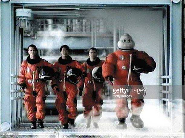 This undated photo shows the Michelin Man starring in his first US advertising as Michelin North America introduces three new TV spots The Shuttle ad...