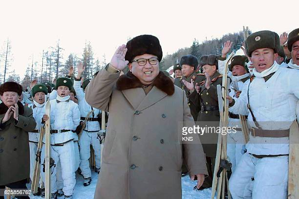 This undated picture released by North Korea's official Korean Central News Agency on November 26 2016 shows North Korean leader Kim JongUn...