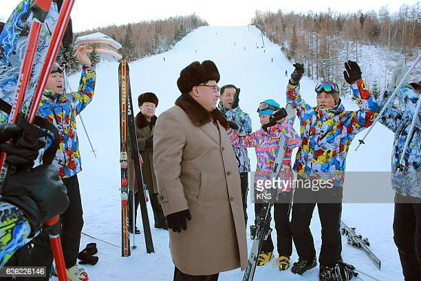 This undated picture released by North Korea's official Korean Central News Agency on November 28 2016 shows North Korean leader Kim JongUn standing...
