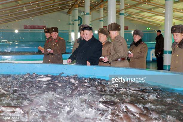 This undated picture released by North Korea's official Korean Central News Agency on February 21 2017 shows North Korean leader Kim JongUn visiting...