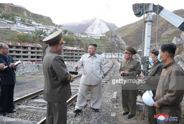 This undated picture released from North Korea's official Korean Central News Agency on October 14, 2020 shows North Korean leader Kim Jong Un...