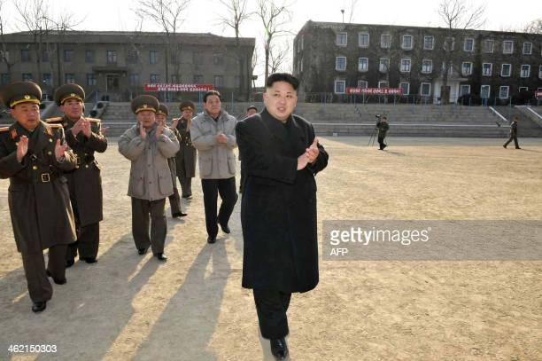 This undated picture released from North Korea's official Korean Central News Agency on January 12 2014 shows North Korean leader Kim JongUn...